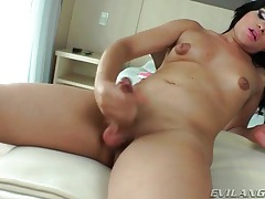 Curvy solo shemale jerks off and fucks ass with toy tubes