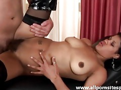 Black boots and stockings on hairy girl he bangs tubes