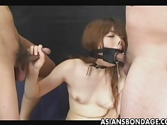 Japanese sucks with a large open mouth gag tubes