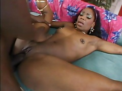 Dumping his creampie in her black pussy tubes