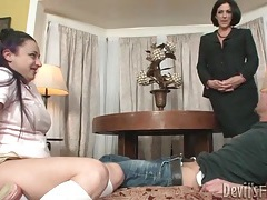 Curvy slut in skirt sucks dick as mom watches tubes