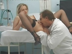 Doctor examines her pussy and tits and fucks her tubes