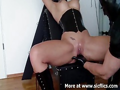 Busty slave fist fucked in her loose cunt till she squirts tubes