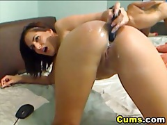 College girl play with her big toy hd tubes