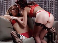 Lingerie girls fool around in tit sucking video tubes