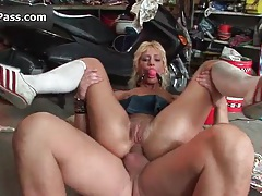 Nasty blonde slut gets horny riding an hard cock with her ass tubes