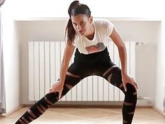 Wicked flexible ballerina girl bends her body tubes