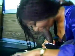 Girl blows him and has anal sex on the bus tubes