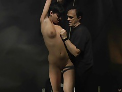 Gives blowjob after whipping and wax dripping tubes