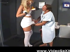 Hot blonde nurse fucks her patient tubes