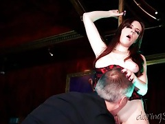 Stripper in corset fucked hard in the club tubes