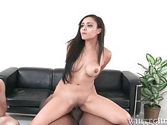 Cock riding interracial slut takes load on her tits tubes