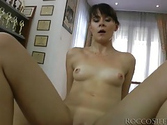 Skinny girl sits on his dick and looks great tubes