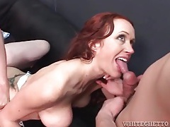 Redhead sucks dick as guys fuck her asshole tubes