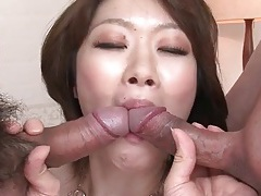 Spit roasted japanese slut fucked in cunt and ass tubes