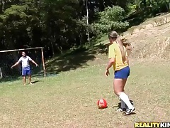 Latina strips off soccer uniform and models big ass tubes