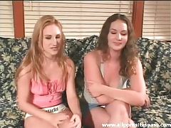 Sweet young chicks eat pussy in a lesbian video tubes
