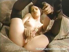 Teenager in pretty nylons masturbates and sucks cock tubes