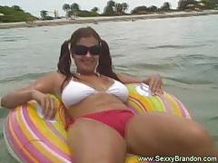 Sexy brunette amateur having fun tubes