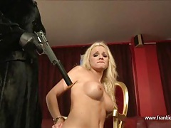Hot blonde lesbian stripped and sucking femdoms big strapon tubes