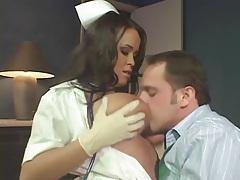 Nurse in latex gloves gives handjob and fucks tubes