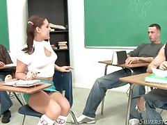 Schoolgirl looks sexy sucking big cock tubes