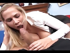 Busty babe having sex in crotchless pantyhose tubes