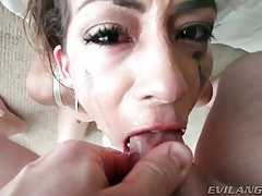 Cock down her throat makes her gag and spit tubes