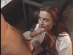 Sexy scientist sucks his big cock from her knees tubes