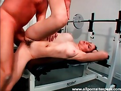 Giving head to and sitting on thick old cock in gym tubes