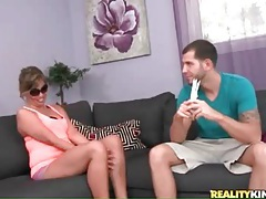 Flexible chick in white heels models her cunt tubes