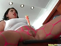Torn up pink pantyhose on a big ass solo girl tubes