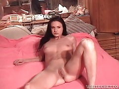 Amateur brunette with small tits does doggystyle tubes
