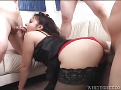 Chubby chick in black stockings fucked in gangbang tubes