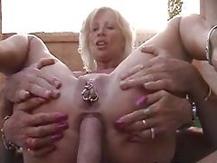 Lots of piercings on milf he fucks in the ass tubes