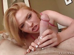 Strawberry blonde lustily sucks on his heavy balls tubes