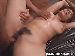 Japanese babe fucked and gets suspended from a crane tubes