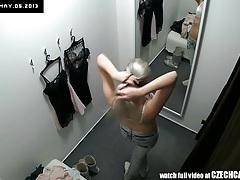 Voyeur nice blonde fitting lingerie tubes