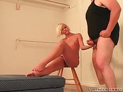 She tickles his balls while he jerks off tubes