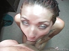Cocksucking skinny girl with tattoos gets facial tubes