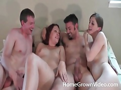 Amateur suck dicks and get tits sucked in foursome tubes