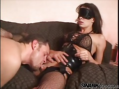 Blindfolded beauty in fishnet stockings sucks a dick tubes
