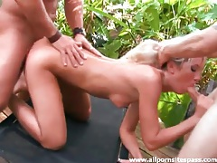 Jungle threesome with a hot blonde and her tight holes tubes