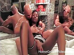 Black amateur changes into lingerie he gives her tubes