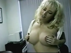 Slutty outfit on a big titty blonde stripping tubes