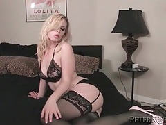 Beauty in lingerie dances on the pole and sucks cock tubes