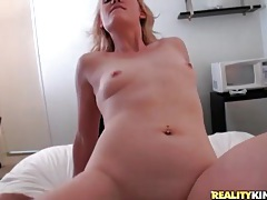 Tight shaved pussy rides dick and bounces tubes
