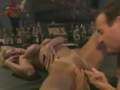 Licking her and fucking her from behind in bar tubes