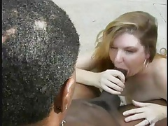 Black cock blown by fat older lady outdoors tubes