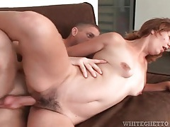 Hairy mom box sits on his dick and rides tubes